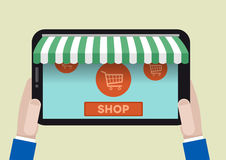 FLAT_tablet_shopping_02 图库摄影