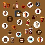 Flat takeaway coffee cups, beans, pots icons Stock Photography
