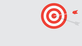 Flat target background. Red stripes target with arrow in a middle. Flat vector background with copy space Stock Image