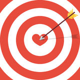 Flat target with heart. Card for Valentine day Royalty Free Stock Images