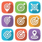 FLat target icon pack with shadow. Vector Stock Photos