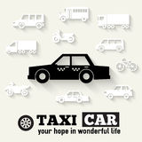 Flat taxi car background illustration concept. Royalty Free Stock Images
