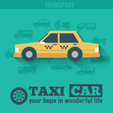 Flat taxi car background illustration concept. Stock Photography