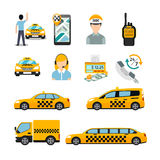 Flat taxi icons. Transportation service Royalty Free Stock Photos