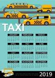 Flat Taxi 2019 Year Calendar Template royalty free illustration