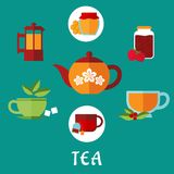 Flat tea icons with teacups and teapots Royalty Free Stock Image