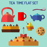 Flat tea time set Royalty Free Stock Photos