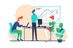 Flat team works on project with help of analytics, computers and graphs in office. Concept young man and woman employee in workplace. Vector illustration royalty free illustration