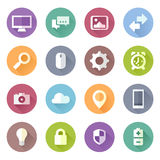 Flat tech icons. Set of flat style technology device icons Royalty Free Stock Images