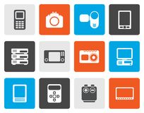 Flat technical, media and electronics icons. Vector icon set stock illustration