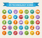 Flat Technology Icons  with long shadow. Stock Photography