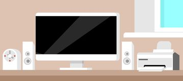 Flat technology workspace. Flat modern technology workspace. Vector EPS10 illustration Royalty Free Stock Images