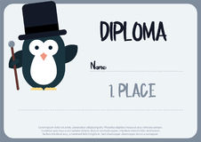 Flat template of fiploma decorated with penguin stylized as a gentleman. Royalty Free Stock Image