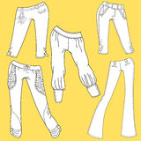 Flat template sketches of different denim and jeans clothes Stock Image