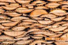 Flat texture of firewood lumber leftovers stack.  royalty free stock image