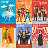 Flat Theatre Posters Set Royalty Free Stock Photos