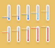 Flat thermometer icons collection Stock Photography