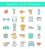 Flat Thin Line Fitness and Wellness Icons Royalty Free Stock Photos
