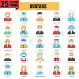 Flat thin line icons collection of people avatars. For profile page, social network, social media, different age man and woman characters portfolio. Avatars royalty free illustration