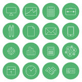 Flat thin line icons modern design vector set business icons Stock Photos