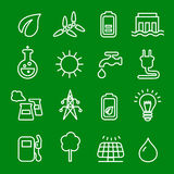 Flat thin line icons vector set of power and energy, natural renewable energy technologies as solar, wind, water. Royalty Free Stock Photo