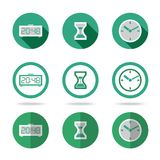 Flat time icons set. Different kinds of flat style Stock Image