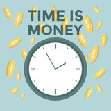 Flat time is money concept background. Money saving Stock Photos