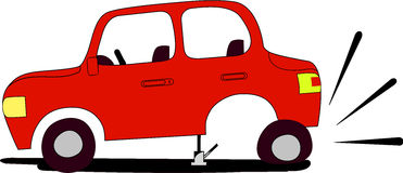 Flat tire. Red car with flat tire waits assistance from anyone who would like to help Royalty Free Stock Photography