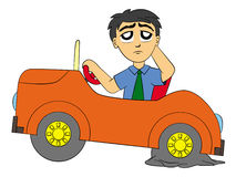 Flat tire. Cartoon man in a car and wondering about his flat tire Stock Photo