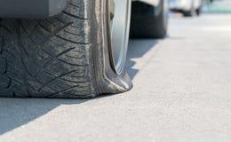Flat  tire car Royalty Free Stock Photo