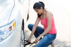 Flat tire repair Stock Images