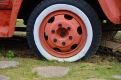 Flat tire and rim of truck Royalty Free Stock Photo