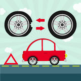 Flat tire on the road Royalty Free Stock Photos