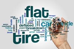 Flat tire word cloud concept on grey background Stock Images