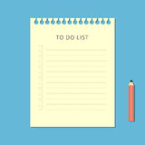 Flat to do list and pencil on blue background Royalty Free Stock Photo