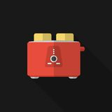 Flat toaster with long shadow. Vector icon Stock Photography