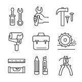 Flat tools repair. Vector black flat tools repair icons on white Stock Photography