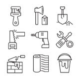 Flat tools repair. Vector black flat tools repair icons on white Stock Photos