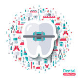 Flat Tooth in Braces Sticker Icon. Royalty Free Stock Images