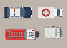 Flat Top view police ambulance fire engine  Royalty Free Stock Photos