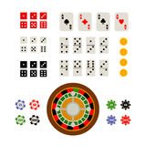 Flat top view set of gambling and casino items Royalty Free Stock Photos