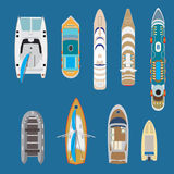 Flat Top yachts boats vector illustration set  Royalty Free Stock Images