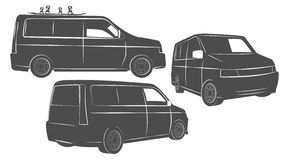 Flat tourist van in perspective Royalty Free Stock Photos