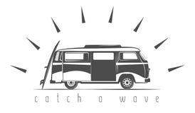 Flat tourist van, surfboard Royalty Free Stock Image