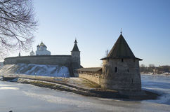 Flat Tower on the river Pskov february day. Russia Royalty Free Stock Photo
