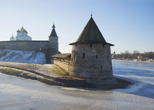 Flat Tower on the river Pskov february day. Russia Stock Photos