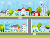 Flat Town Illustration Royalty Free Stock Photos