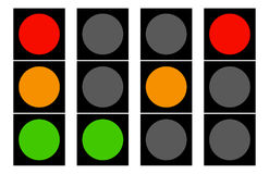 Flat traffic light icons. Traffic lamps, semaphore. Royalty free vector illustration Stock Image