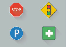 Flat traffic sign. Stop Traffic lights park car street Royalty Free Stock Image