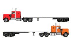 Flat Trailer Trucks Isolated Stock Photo